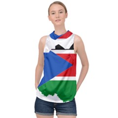 South Sudan Flag Map Geography High Neck Satin Top