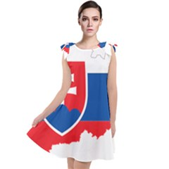 Slovakia Country Europe Flag Tie Up Tunic Dress
