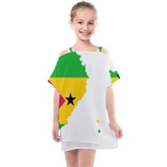Sao Tome Principe Flag Map Kids  One Piece Chiffon Dress by Sapixe