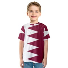 Borders Country Flag Geography Map Qatar Kids  Sport Mesh Tee