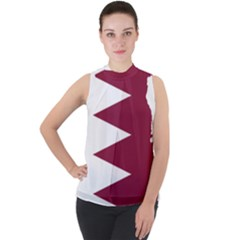 Borders Country Flag Geography Map Qatar Mock Neck Chiffon Sleeveless Top