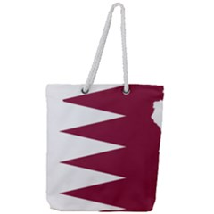 Borders Country Flag Geography Map Qatar Full Print Rope Handle Tote (large) by Sapixe
