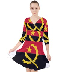 Angola Flag Map Geography Outline Quarter Sleeve Front Wrap Dress