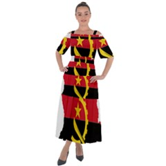 Angola Flag Map Geography Outline Shoulder Straps Boho Maxi Dress