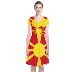 Macedonia Country Europe Flag Short Sleeve Front Wrap Dress by Sapixe