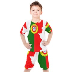 Portugal Flag Borders Cartography Kids  Tee And Shorts Set