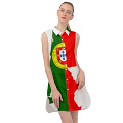 Portugal Flag Borders Cartography Sleeveless Shirt Dress