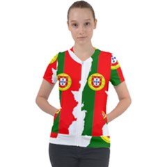 Portugal Flag Borders Cartography Short Sleeve Zip Up Jacket