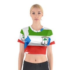 Equatorial Guinea Flag Map Cotton Crop Top