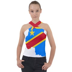 Democratic Republic Of The Congo Flag Cross Neck Velour Top by Sapixe