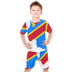 Democratic Republic Of The Congo Flag Kids  Tee And Shorts Set by Sapixe