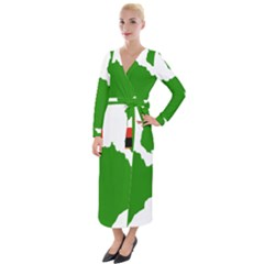 Zambia Flag Map Geography Outline Velvet Maxi Wrap Dress