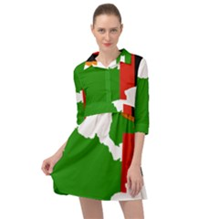 Zambia Flag Map Geography Outline Mini Skater Shirt Dress
