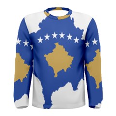 Kosovo Country Europe Flag Borders Men s Long Sleeve Tee