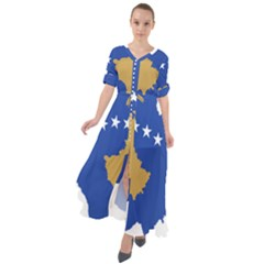 Kosovo Country Europe Flag Borders Waist Tie Boho Maxi Dress
