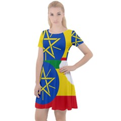 Ethiopia Flag Map Geography Cap Sleeve Velour Dress  by Sapixe