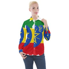 Ethiopia Flag Map Geography Women s Long Sleeve Pocket Shirt