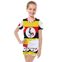 Uganda Flag Map Geography Outline Kids  Mesh Tee And Shorts Set