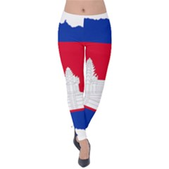 Borders Country Flag Geography Map Velvet Leggings by Sapixe