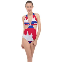Borders Country Flag Geography Map Halter Front Plunge Swimsuit by Sapixe