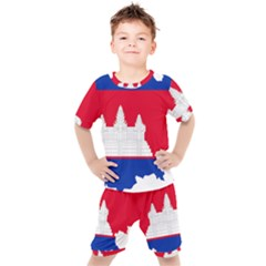 Borders Country Flag Geography Map Kids  Tee And Shorts Set by Sapixe