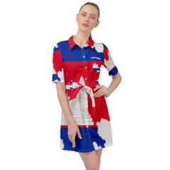 Borders Country Flag Geography Map Belted Shirt Dress