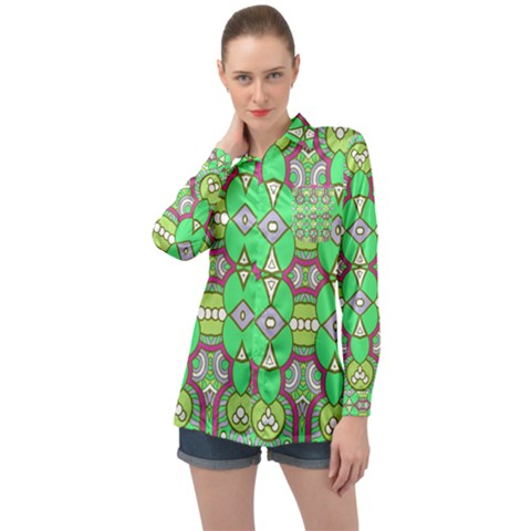 Circles And Other Shapes Pattern                           Long Sleeve Satin Shirt by LalyLauraFLM