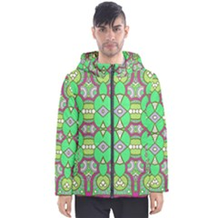 Circles And Other Shapes Pattern                            Men s Hooded Puffer Jacket by LalyLauraFLM
