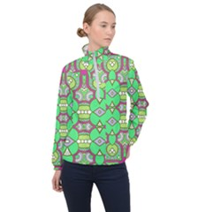 Circles And Other Shapes Pattern                            Women Half Zip Windbreaker by LalyLauraFLM