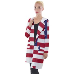 America Art Borders Cartography Hooded Pocket Cardigan