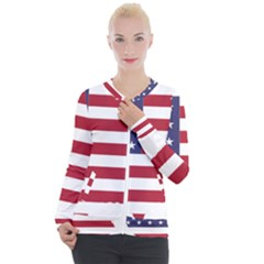 America Art Borders Cartography Casual Zip Up Jacket
