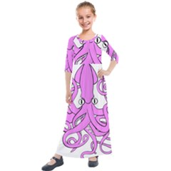 Squid Octopus Animal Kids  Quarter Sleeve Maxi Dress