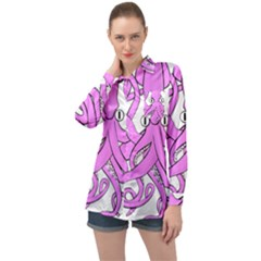 Squid Octopus Animal Long Sleeve Satin Shirt