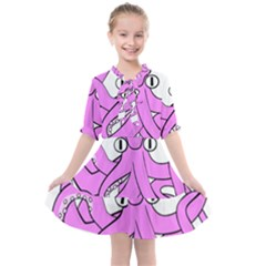Squid Octopus Animal Kids  All Frills Chiffon Dress by Bajindul