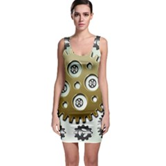 Gear Background Sprocket Bodycon Dress