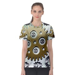 Gear Background Sprocket Women s Sport Mesh Tee by HermanTelo