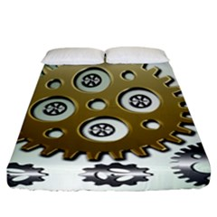 Gear Background Sprocket Fitted Sheet (california King Size)