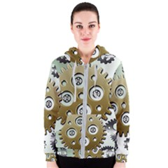 Gear Background Sprocket Women s Zipper Hoodie