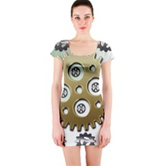 Gear Background Sprocket Short Sleeve Bodycon Dress