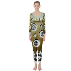 Gear Background Sprocket Long Sleeve Catsuit