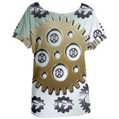 Gear Background Sprocket Women s Oversized Tee by HermanTelo