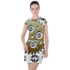 Gear Background Sprocket Drawstring Hooded Dress