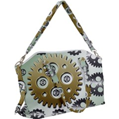 Gear Background Sprocket Canvas Crossbody Bag by HermanTelo