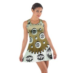 Gear Background Sprocket Cotton Racerback Dress