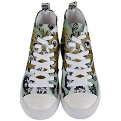 Gear Background Sprocket Women s Mid Top Canvas Sneakers