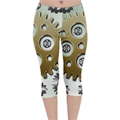 Gear Background Sprocket Velvet Capri Leggings  by HermanTelo