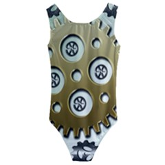 Gear Background Sprocket Kids  Cut-out Back One Piece Swimsuit by HermanTelo