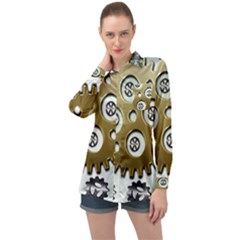 Gear Background Sprocket Long Sleeve Satin Shirt by HermanTelo