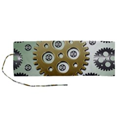 Gear Background Sprocket Roll Up Canvas Pencil Holder (m)