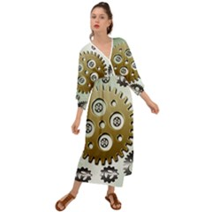 Gear Background Sprocket Grecian Style  Maxi Dress